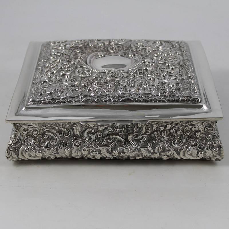 Silver Jewellery Casket S424 Antique Silver D D Antiques